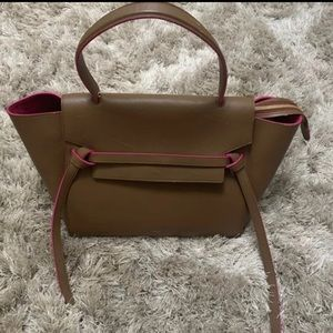 Celine calfskin Mini belt bag in camel and pink